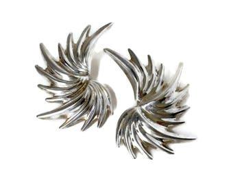 Big Silver Earrings -  Mermaid Fin Ears, Wing Earrings, Feather Earrings, Spiked Earrings, Spiny Earrings, Mermaid Earrings