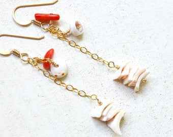 Gold Dangle Earrings, Dangling Shell Earrings, Gold Chain Earrings, Coral Earrings, Shell Earrings