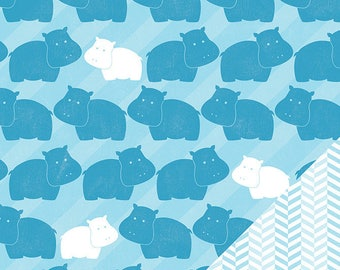 My baby - Blue Hippo pattern paper