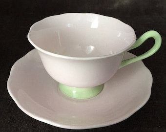 Royal Albert Pastella series pale pink and green teacup and saucer set