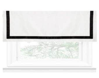 """Valance - Linen Shade """"White with black border"""", Geometric pattern, Windows Treatment, Ready to made"""