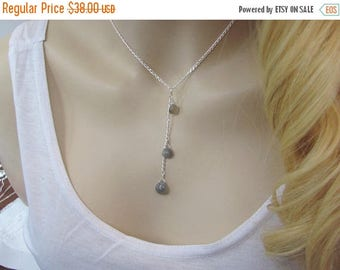 Moonstone Lariat Y Necklace, Cascading Necklace, Gray Moonstone Necklace, Grey Moonstone Gemstone, Moonstone Jewelry, Cluster Necklace