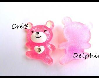 Pink Teddy bear cabochon (T1)