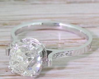 Art Deco 2.07 Carat Old Cut Diamond Engagement Ring, circa 1930