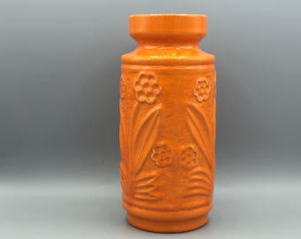 Knödgen 70 / 23  vintage orange relief vase    1960s Mid Century Modern West Germany Pottery .MCM . WGP.