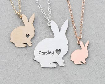 Easter Bunny Necklace Pet Rabbit Easter Basket • Gift Bunny Silver Pet Bunny Rabbit Custom Bunny • Rose Gold Bunny Pendant Rabbit Loss Pet