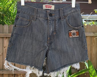 say cheese! size 10 children's frayed highwaisted levi shorts (kid's shorts, vintage, kid's clothing, decal, embroidered)