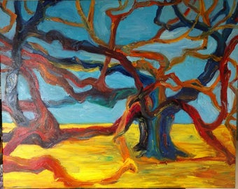 Angel Oak Tree, Charleston, South Carolina, Original Oil Painting on Canvas