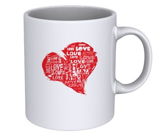 Grungy Love Heart - Cool Coffee Mug - Best Gift !!!