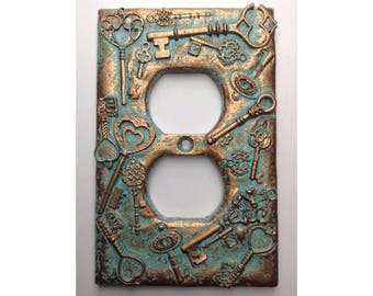 Keys (Steampunk) )Outlet Cover - Aged Copper/Patina or Stone