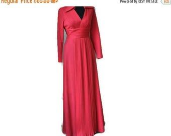 "Summer Sale Pink 1970's Maxi Dress // Carnegie Vintage Maxi Dress // Medium Size, Bust 40 """