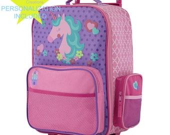 UNICORN Stephen Joseph Classic Rolling Luggage, Kids Luggage, Bookbag.