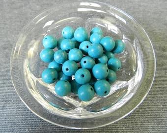 42 pc Lot of Chinese Turquoise Round Ball Beads - 8mm - Blue, Aqua, Stone
