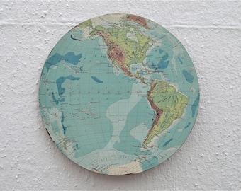 Antique wooden western hemisphere world globe map wall plaque panel