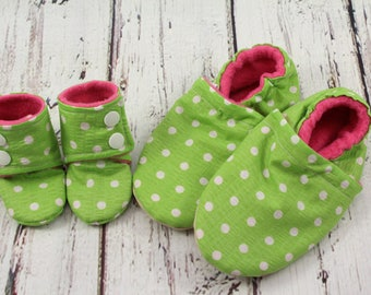 doll and me slippers - toddler slippers - Easter gifts for girls - birthday gift - doll and girl matching shoes - green dot doll slippers