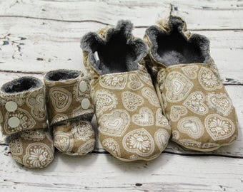 doll and me slippers - doll and girl matching shoes - girl slippers - Easter gifts for girls - birthday gift -lace heart doll slippers
