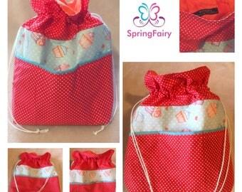 Knitting bag, drawstring bag, crochet bag, project bag, yarn storage, sewing bag, gift idea, craft bag, travel, trip, school, makeup