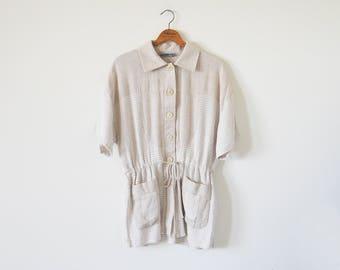 90s vintage linen oatmeal jacket / summer jacket