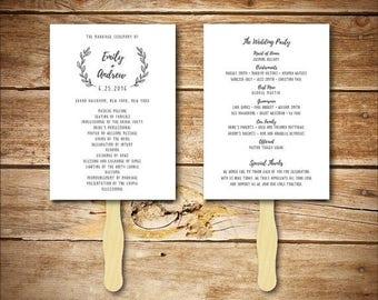 Wedding Program Template - Printable Wedding Program - DIY Wedding Fan Template  - Instant Download - Wreath Collection