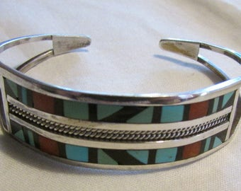 Zuni Sterling Silver Turquoise Coral and Jet Inlay Cuff Bracelet