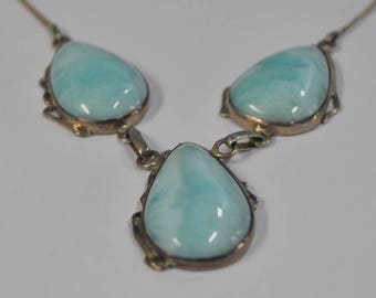 Sterling Silver and Larimar Necklace