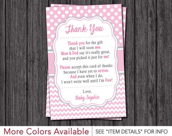 Baby Shower Thank You Cards • Girl Baby Sprinkle Thank You Cards • Baby Pink, Pink, and Gray