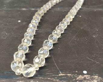 Round faceted crystal bead necklace with 10 karat gold filled clasp 1950s vintage