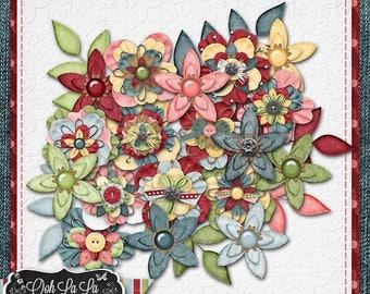 On Sale 50% Butterflies and BlueJeans Layered Flowers Pack Digital Scrapbook Kit - Digital Scrapbooking