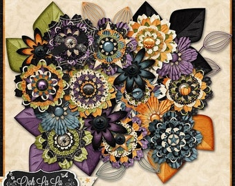 On Sale 50% Flowers - Halloween, All Hallows Eve Digital Scrapbook Kit, Layered Flowers, Holiday, Fall