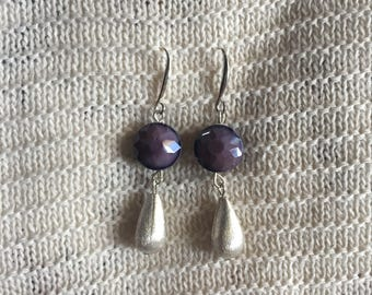 Unique Purple and silver earrings