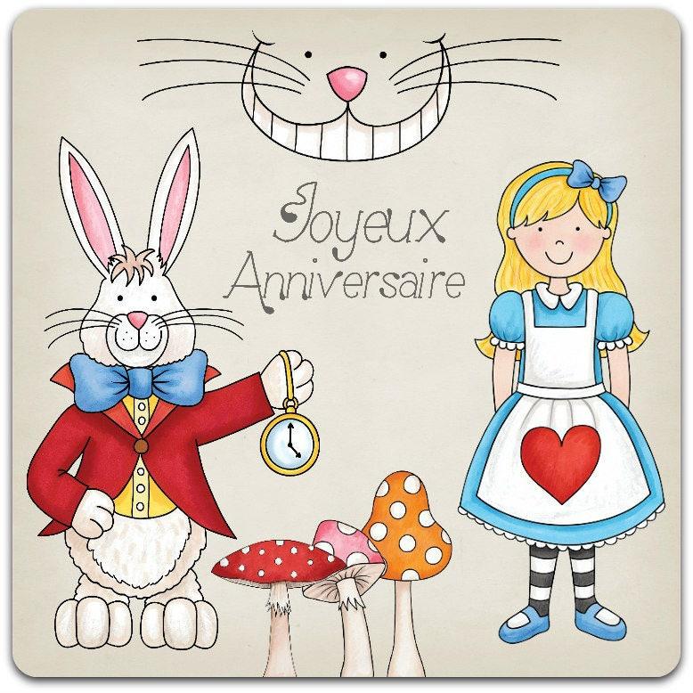 Carte double faite main bon anniversaire alice au pays des - Anniversaire alice au pays des merveilles ...