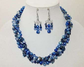Blue Cultured Freshwater Pearls, Glass, Non-Tarnish Silver Plated Wire, Wire Crochet, Necklace, Earrings