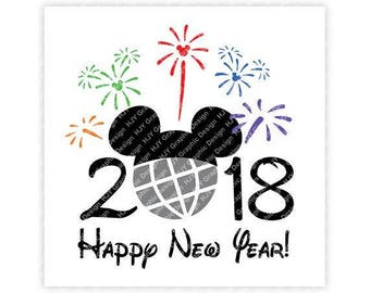 Disney, Happy New Year, 2018, Epcot, Fireworks, Mickey, Head, Mouse, Ears, Icon, Digital, Download, TShirt, Cut File, SVG, Iron on,Transfer