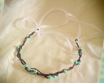 turquoise bridal Pearl Crown headband