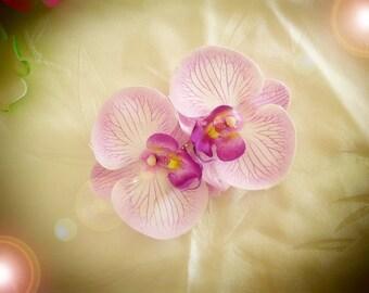 Purple Orchid hair barrette clip double artificial