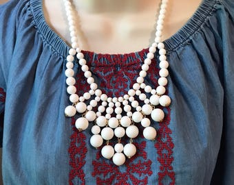 White Bubble Bib Beaded Chandelier Statement Necklace