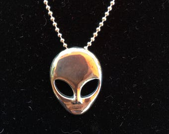 Sterling silver Alien head necklace 925 made in the USA