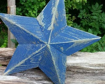 12 inch wooden blue star made from reclaimed wood