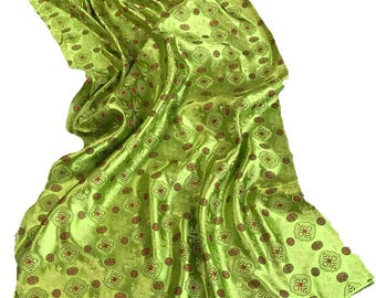Oriental/Asian Print Brocade Polyester in lime and tomato orange