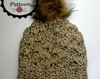 CROCHET HAT PATTERN Instant Download Pdf - Margaery Chunky Shell Stitch Beanie  Baby-Adult English Only