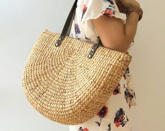 Bridesmaid Tote /Straw Bag / Straw basket / Beach Bag / Hand bags/ wicker bag/ Straw tote / Tote bag /Straw handbags Seagrass bag