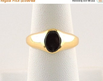 33% Off Christmas in July Size 7 Sterling Silver Gold Plated And Black Onyx Ring