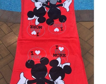 Disney Mickey Minnie Mouse Bath Towel & Washcloth Personalized Toddler Beach Towel