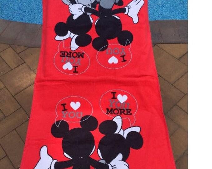 Disney Mickey Minnie Mouse Bath Towel & Washcloth Personalized Toddler Beach Towel