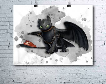 How to Train Your Dragon Poster - Toothless - Night Fury - How to Train Your Dragon Print - Toothless Print - Toothless Poster