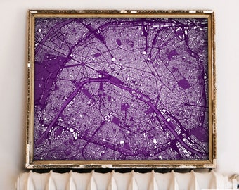"Paris map, Map of Paris, France, 6 colors, 9 sizes up to 90x72"" 225x180cm, Paris art map in 1 piece or 6 parts - Limited Edition of 100"