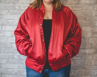 XL red bomber jacket with red trim