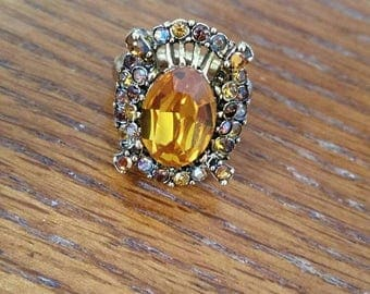 Summer Sale Vintage Hollycraft Citrine And Rhinestone Accent Adjustable Ring Size 6. 5 to 8 Ladies Circa 1953