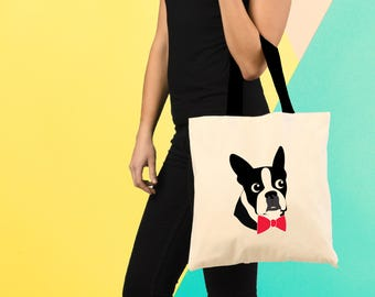 Boston Terrier Tote Bag, Tote Bag, Book Bag