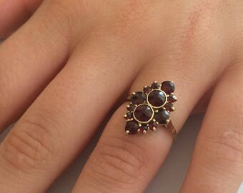 Victorian Rose Cut Bohemian Garnet Navette Ring in 10K Yellow Gold circa 1870